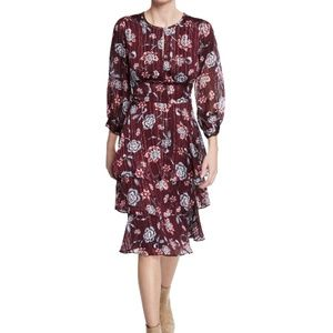 Rachel Roy Purple Floral Print Ruffled Midi Dress
